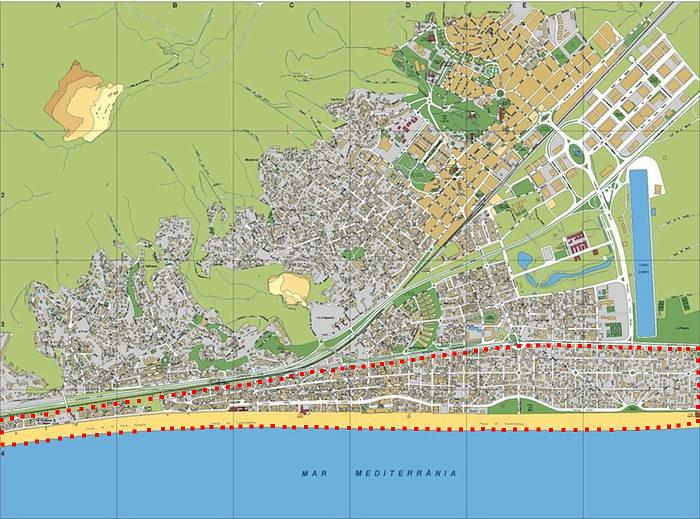 Map of Castelldefels beach